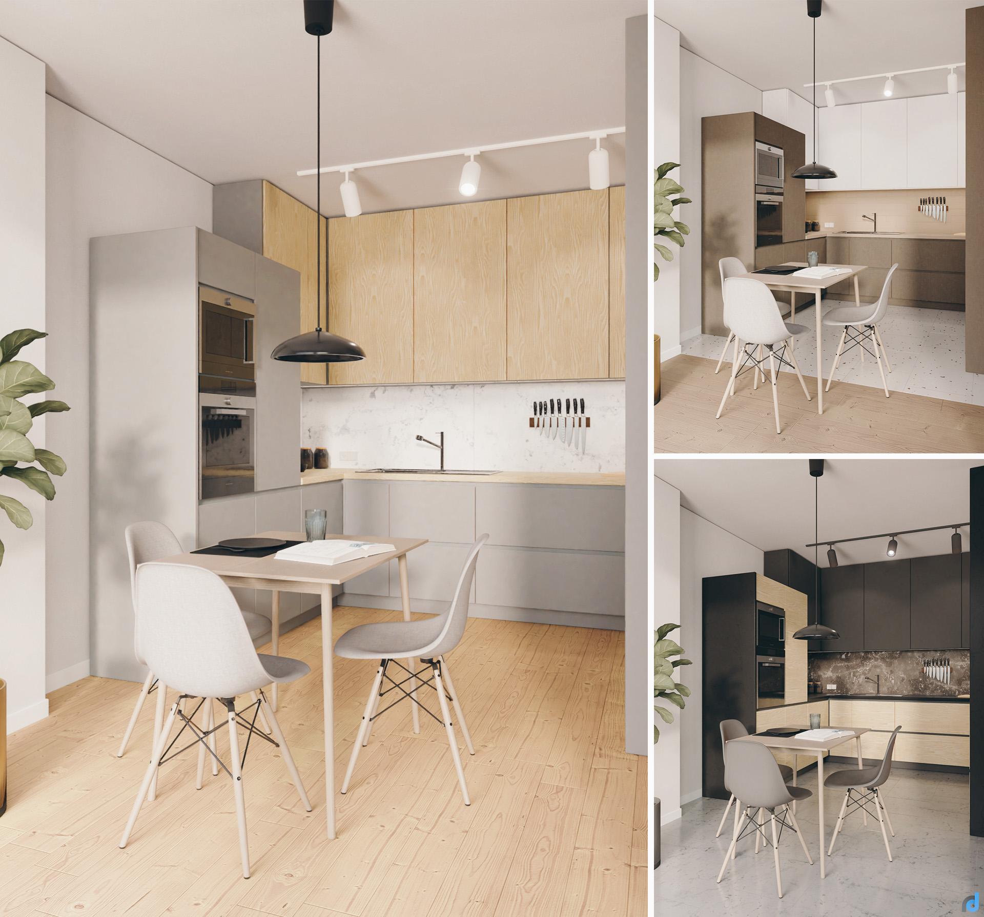 Apartment kitchen design variations