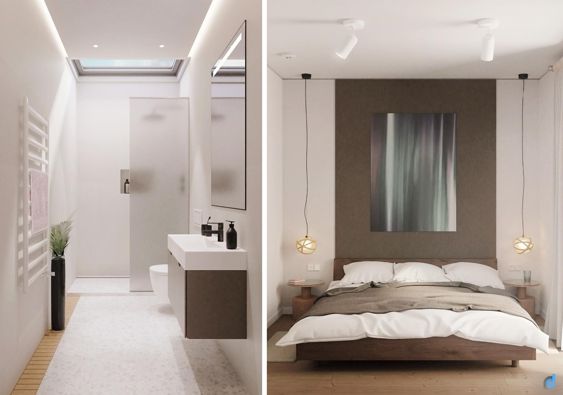 Apartment Berlin -bed-and bathroom interior design